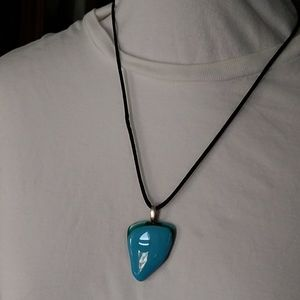Polished Blue Glass Reversible Necklace